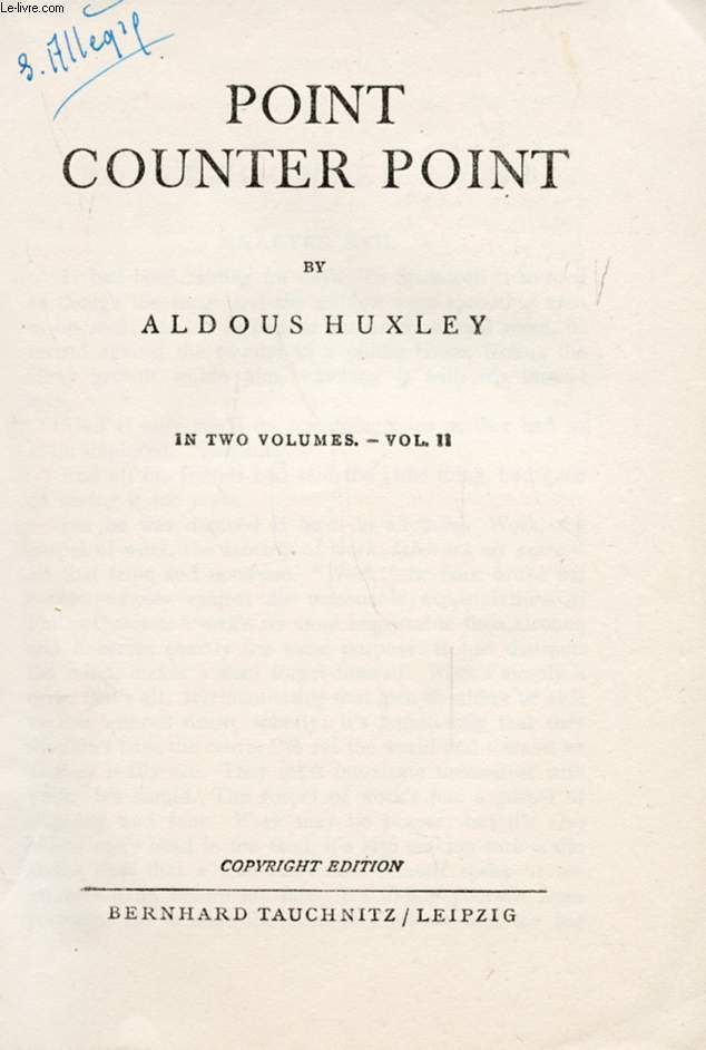 POINT, COUNTER POINT, VOL. II (COLLECTION OF BRITISH AND AMERICAN AUTHORS, VOL. 4873)