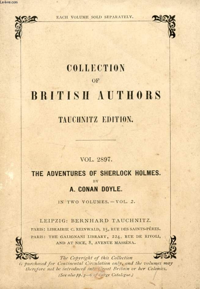 THE ADVENTURES OF SHERLOCK HOLMES, VOL. II (COLLECTION OF BRITISH AUTHORS, VOL. 2897)