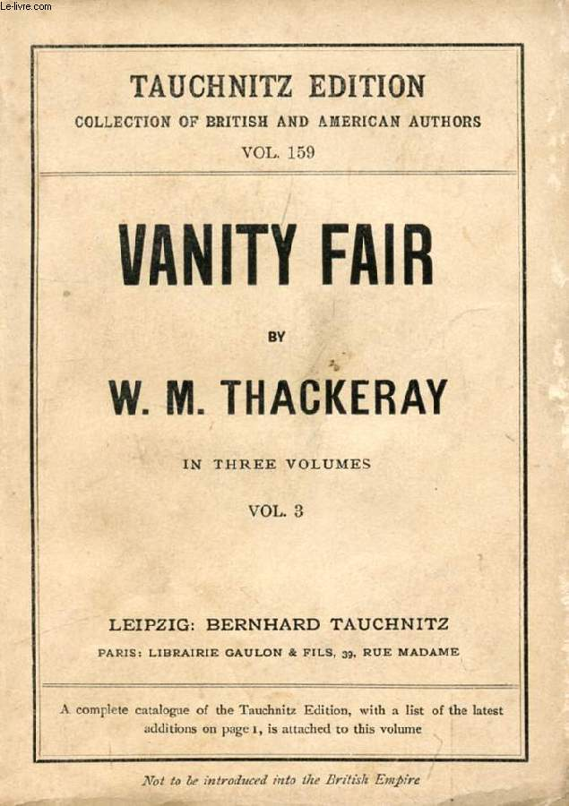 VANITY FAIR (COLLECTION OF BRITISH AND AMERICAN AUTHORS, VOL. 159)