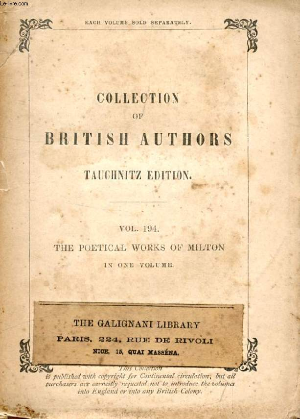 THE POETICAL WORKS (COLLECTION OF BRITISH AUTHORS, VOL. 194)