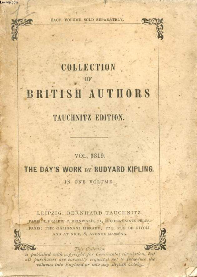 THE DAY'S WORK (COLLECTION OF BRITISH AUTHORS, VOL. 3319)