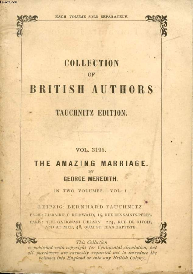 THE AMAZING MARRIAGE, 2 VOLUMES (COLLECTION OF BRITISH AUTHORS, VOL. 3195, 3196)