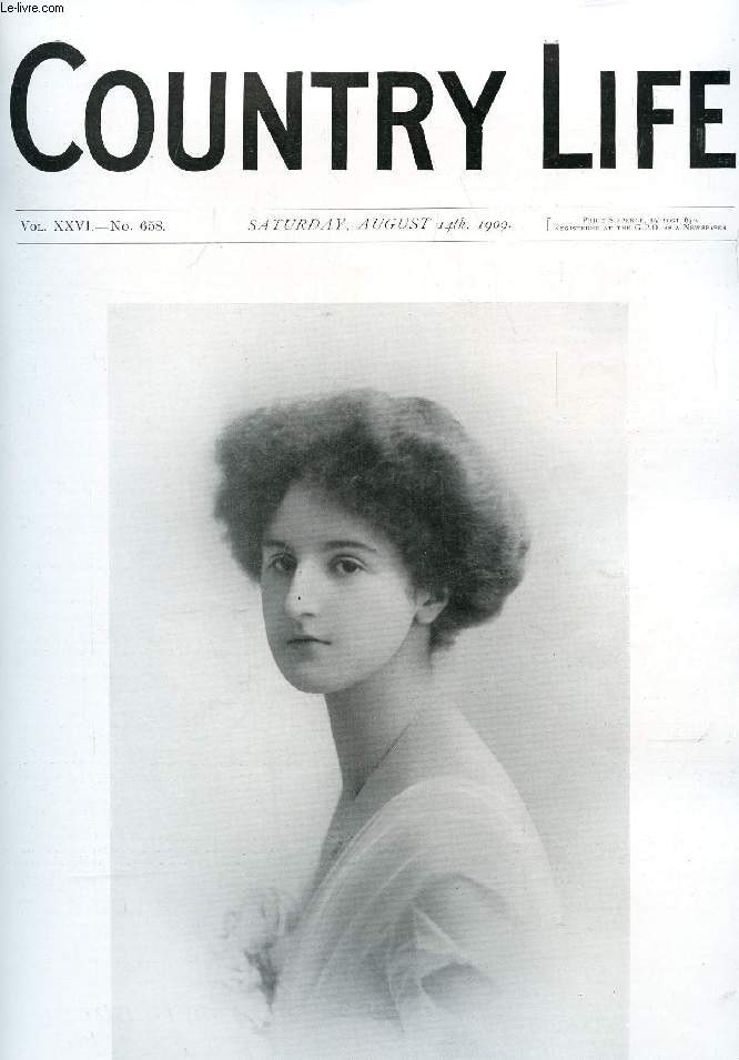 COUNTRY LIFE ILLUSTRATED, VOL. XXVI, N° 658, AUG. 1909 (Contents: Our Portrait Illustration: Lady Marjorie Cochrane. Science Teaching in Secondary Schools. Country Notes. The Children's Oldest Playmate. (Illustrated). Tales of Country Life: The Trials...)