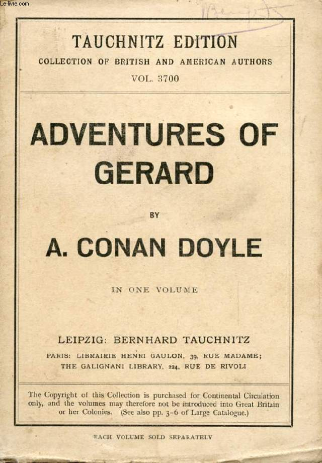 ADVENTURES OF GERARD (COLLECTION OF BRITISH AND AMERICAN AUTHORS, VOL. 3700)