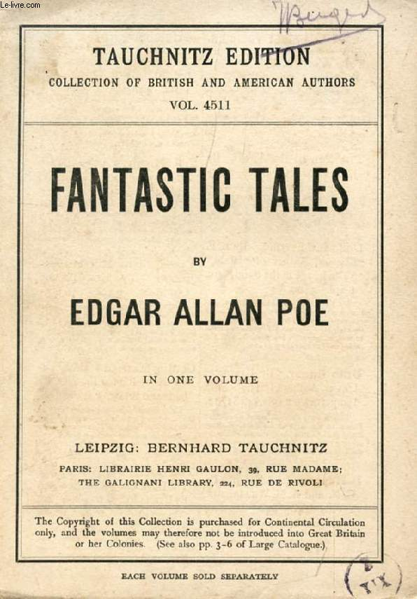 FANTASTIC TALES (COLLECTION OF BRITISH AND AMERICAN AUTHORS, VOL. 4511)
