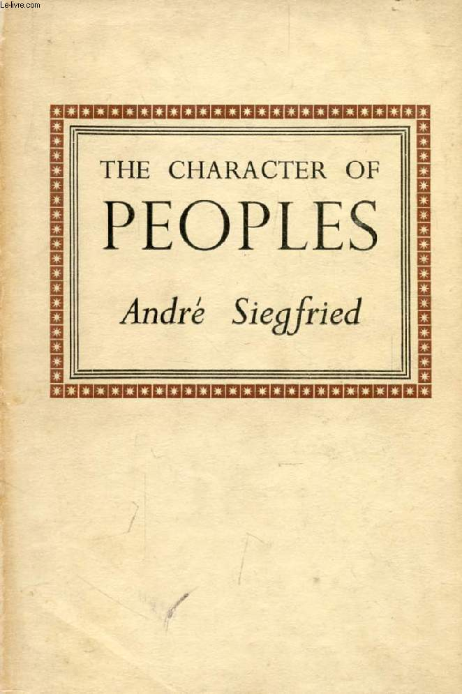 THE CHARACTER OF PEOPLES