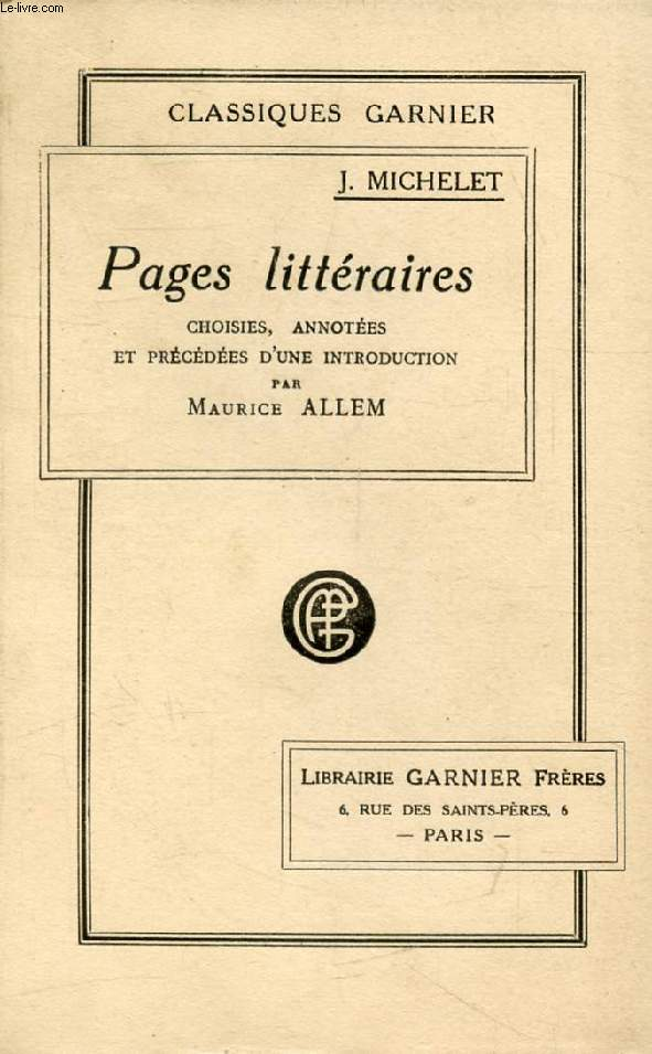 PAGES LITTERAIRES