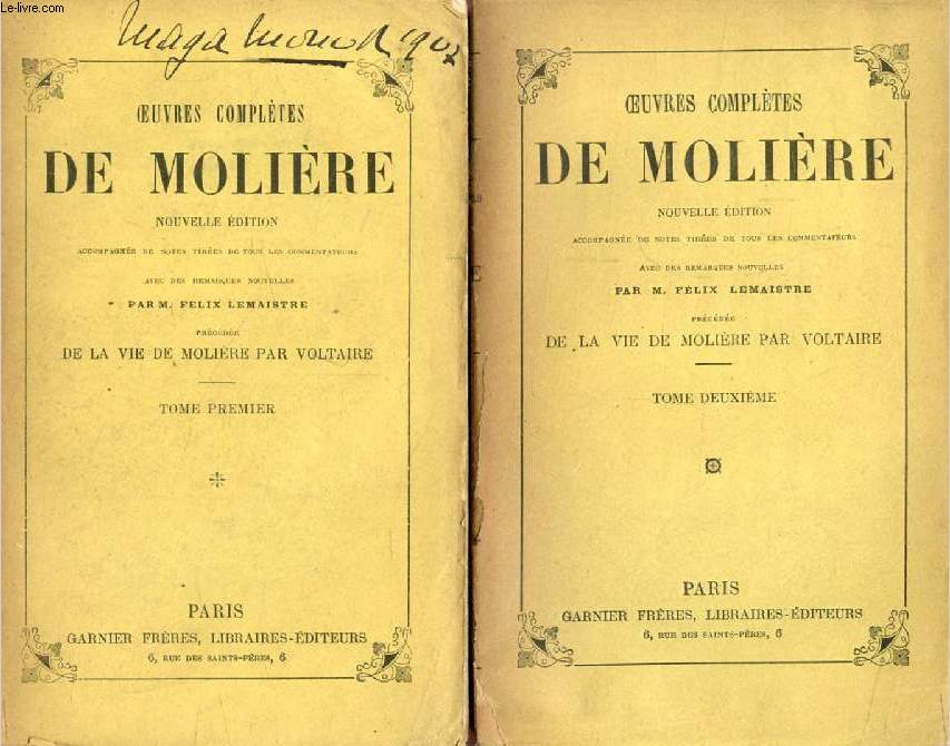 OEUVRES COMPLETES DE MOLIERE, 3 TOMES