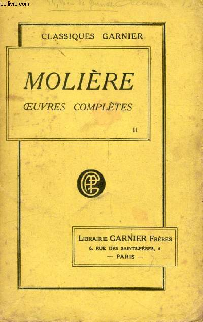 OEUVRES COMPLETES DE MOLIERE, TOME II
