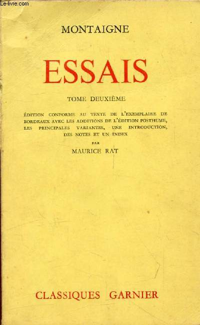 ESSAIS, TOME II