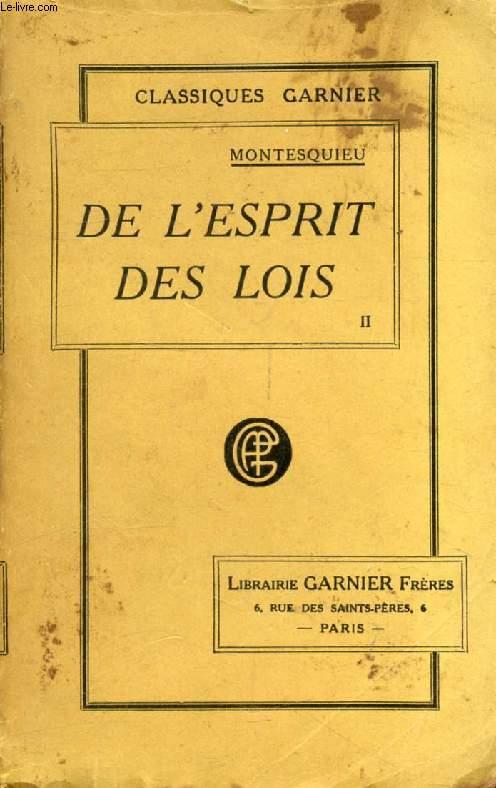 DE L'ESPRIT DES LOIS, TOME II