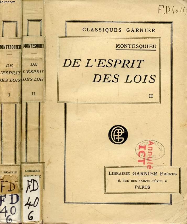 DE L'ESPRIT DES LOIS, 2 TOMES