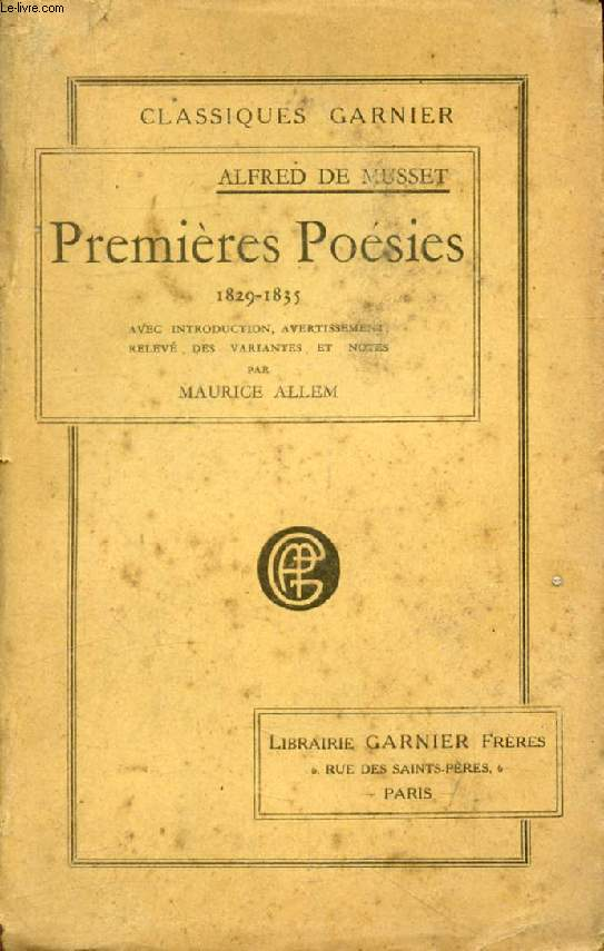 PREMIERES POESIES, 1829-1835