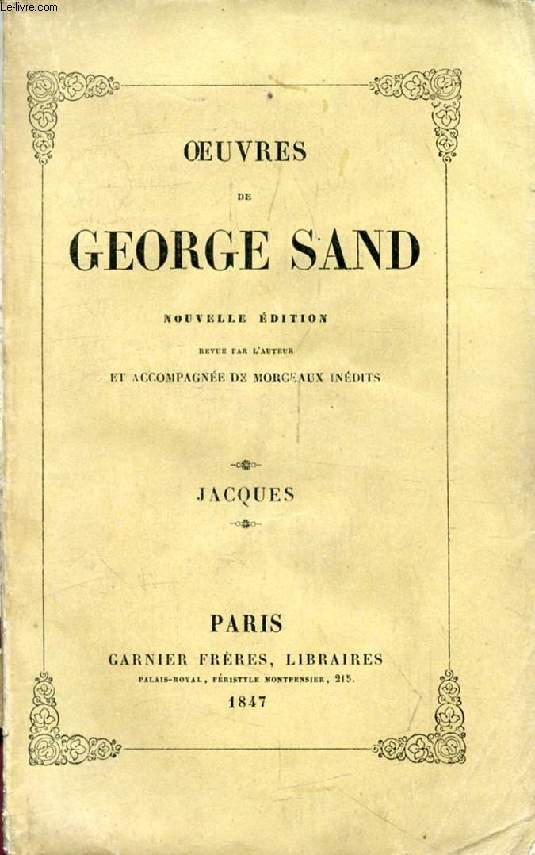 JACQUES (Oeuvres de George Sand, II)
