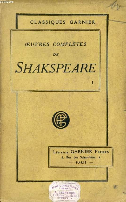 OEUVRES COMPLETES DE SHAKSPEARE (SHAKESPEARE), TOME I (Vie de Shakespeare, Hamlet, La Tempête, Coriolan)