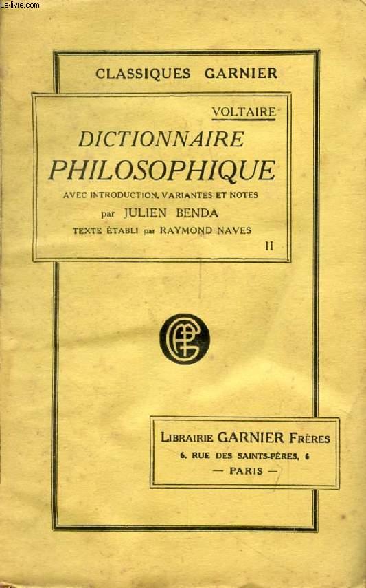 DICTIONNAIRE PHILOSOPHIQUE, TOME II