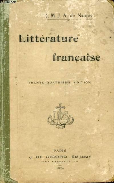LITTERATURE FRANCAISE DEPUIS SES ORIGINES JUSQU'A NOS JOURS