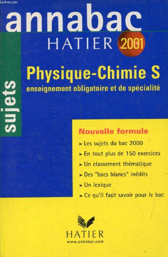 ANNABAC 2001, PHYSIQUE, CHIMIE, S, SUJETS