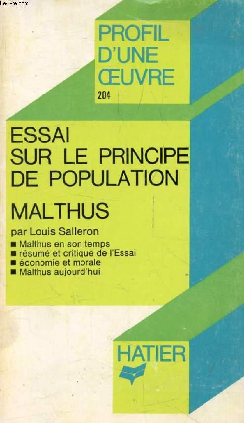 ESSAI SUR LE PRINCIPE DE POPULATION, T.R. MALTHUS (Profil d'une Oeuvre, Sciences Humaines, 204)
