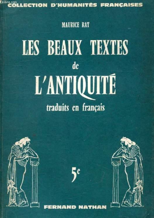 Les Beaux Textes De L Antiquite Traduits En Francais Classe De 5e