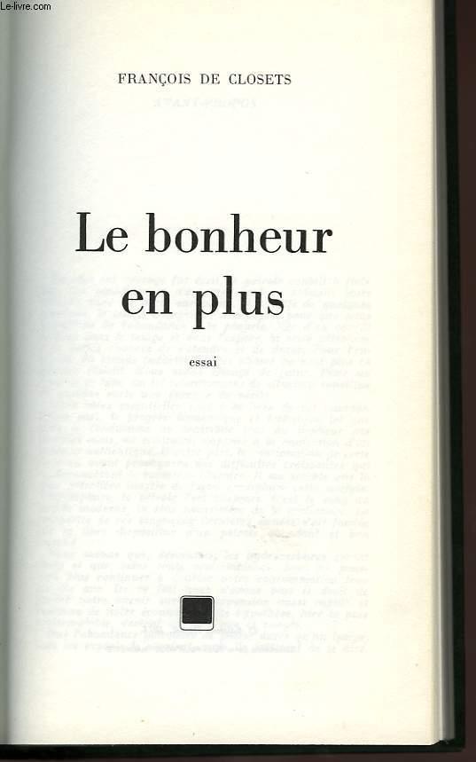 LE BONHEUR EN PLUS