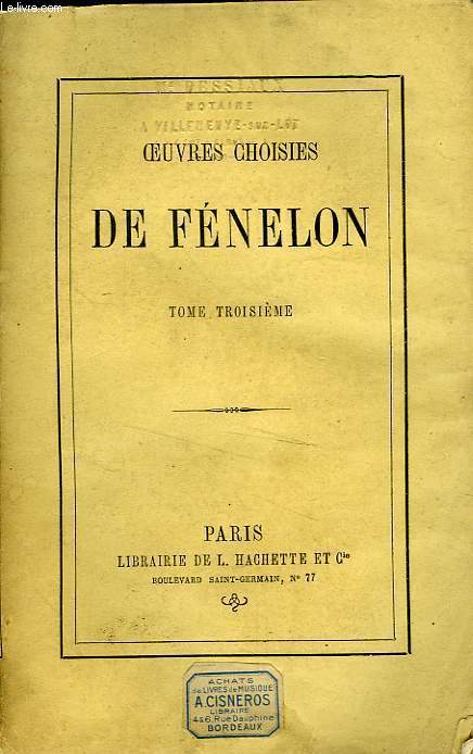 OEUVRES CHOISIES DE FENELON, TOME 3