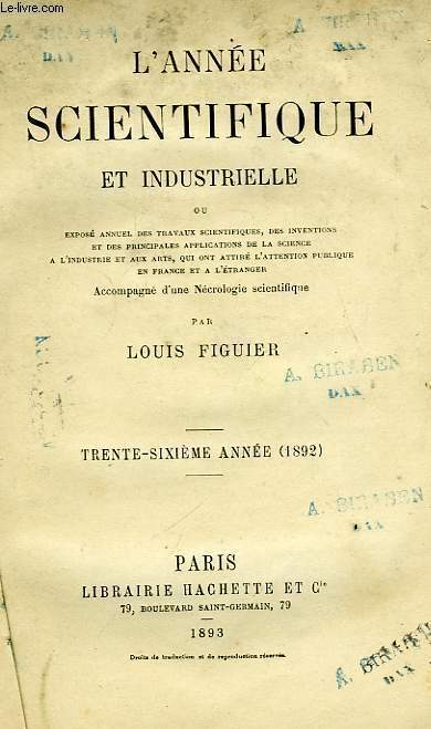L'ANNEE SCIENTIFIQUE ET INDUSTRIELLE, 36ème ANNEE (1892)