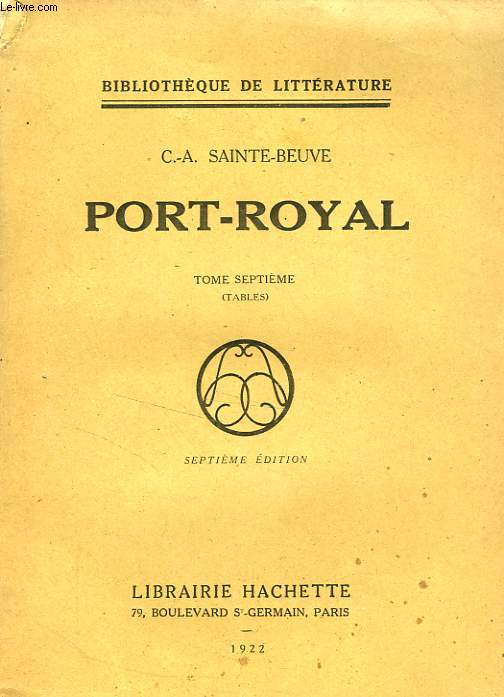 PORT-ROYAL, TOME 7 (TABLES)