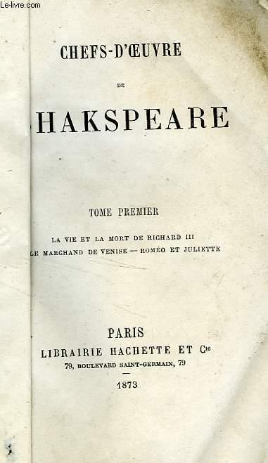 CHEFS-D'OEUVRE DE SHAKSPEARE, TOME 1