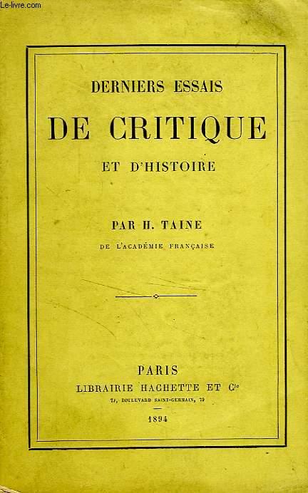 DERNIERS ESSAIS DE CRITIQUE ET D'HISTOIRE