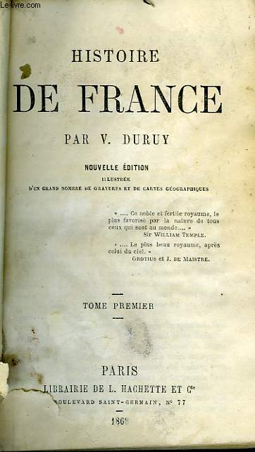 HISTOIRE DE FRANCE, TOME 1 seul