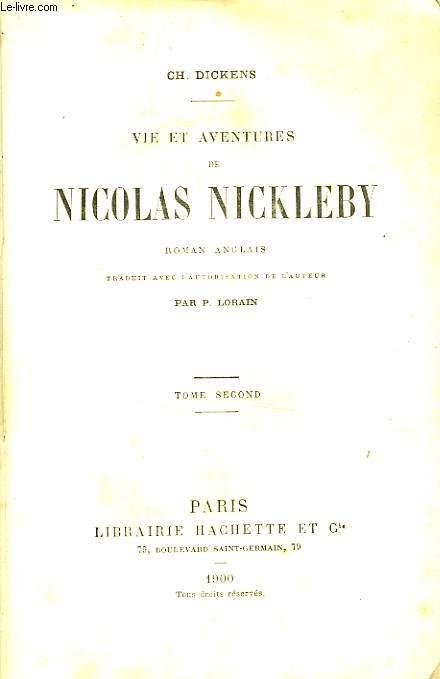 VIE ET AVENTURES DE NICOLAS NICKLEBY, TOME 2 seul