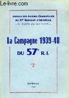 La Campagne 1939 - 40 du 57è R.I.