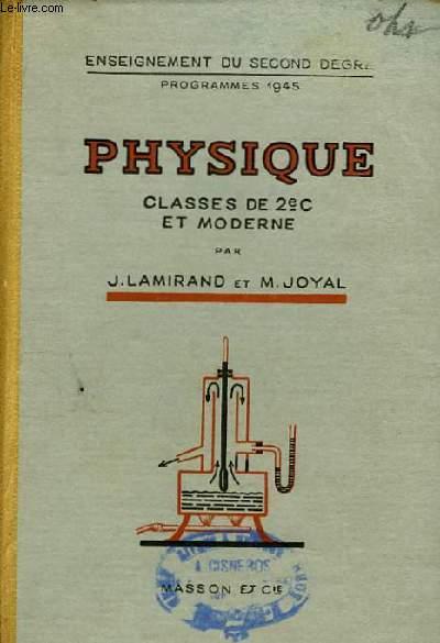 Physique. Classe de 2è C et Moderne.