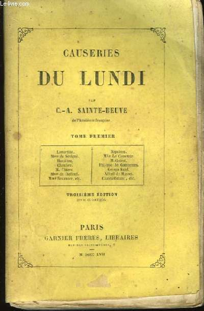 Causeries du Lundi. En 15 volumes.
