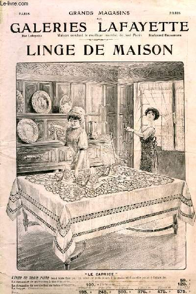 Catalogue de Linge de Maison.