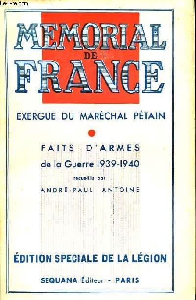 Mémorial de France. Exergue du Maréchal Pétain.