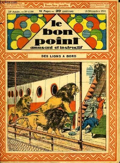 Le bon point, amusant et instructif. 23ème année, n°1150 : Des lions à bord.