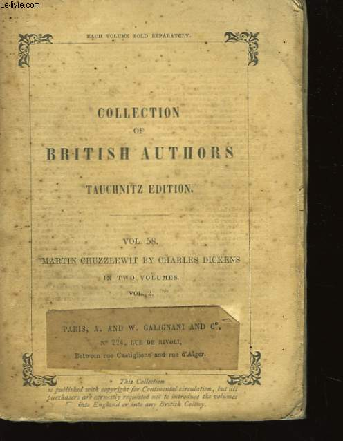 Collection of British Authors n°58. The Life end Adventures of Martin Chuzzlewit. 2ème partie.
