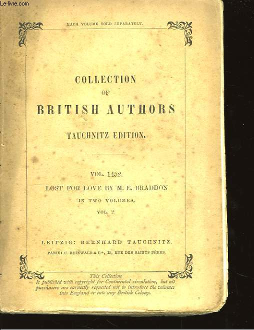 Collection of British Autors. Lost for Love. Vol. 2