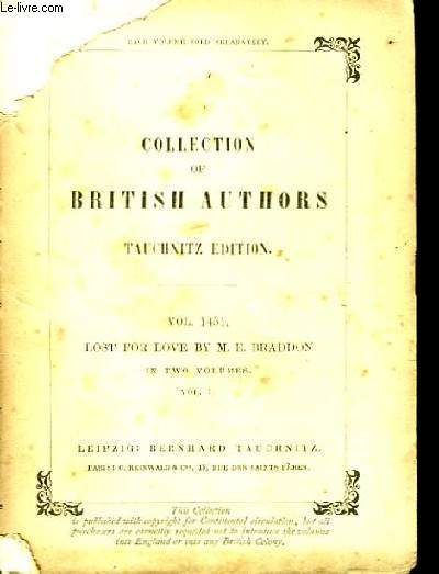 Collection of British Authors. Lost For Love, Vol. 1.