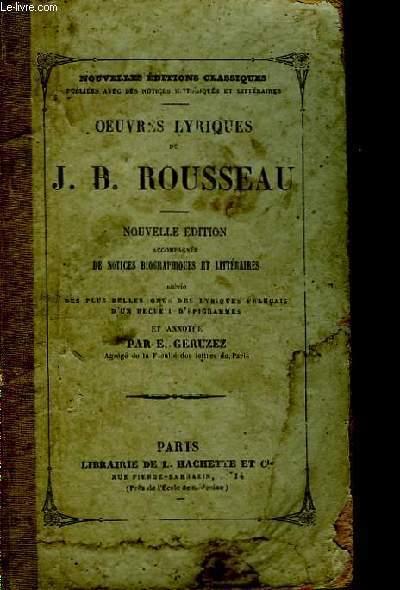 Oeuvres Lyriques de J.B. Rousseau.
