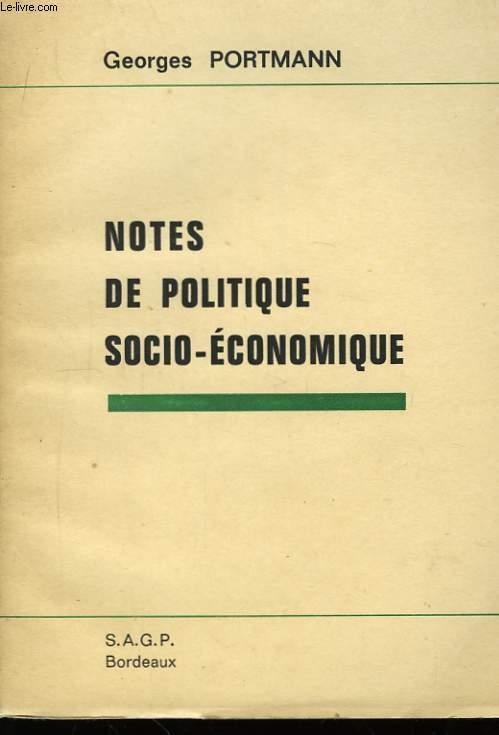 Notes de politique socio-économique