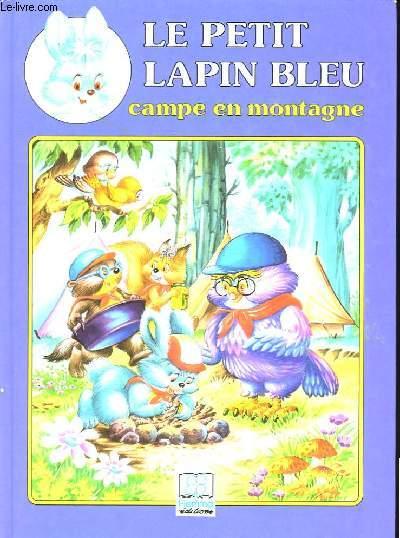 Le petit lapin bleu campe en montagne.