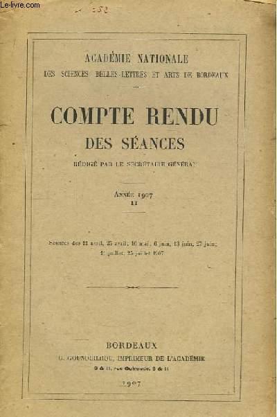 Compte Rendu des séances. Année 1907, TOME II