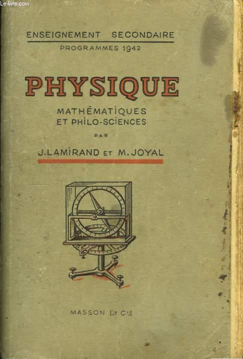 Physique. Classe de Mathématiques et Philo-Sciences.