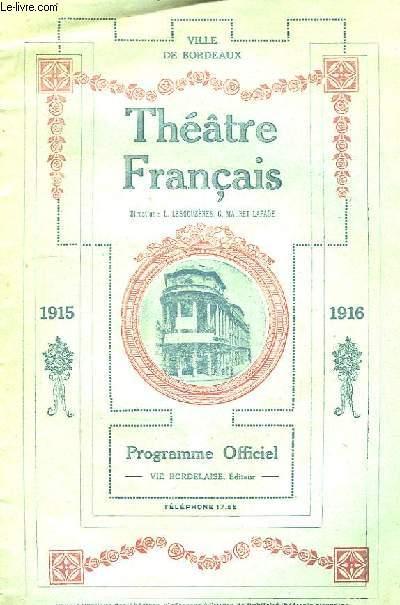 Th��tre Fran�ais. Programme officiel 1915 - 1916