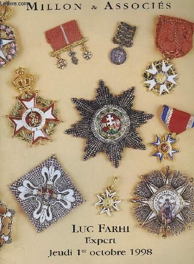 Catalogue de Vente aux Enchères d'ordre de chevalerie et décorations.