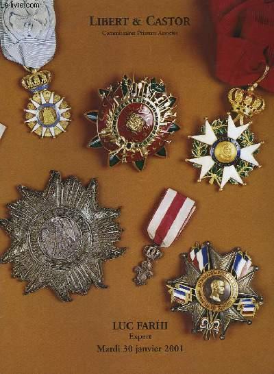 Catalogue de Vente aux Enchères, d'Ordres de Chevalerie et Décorations