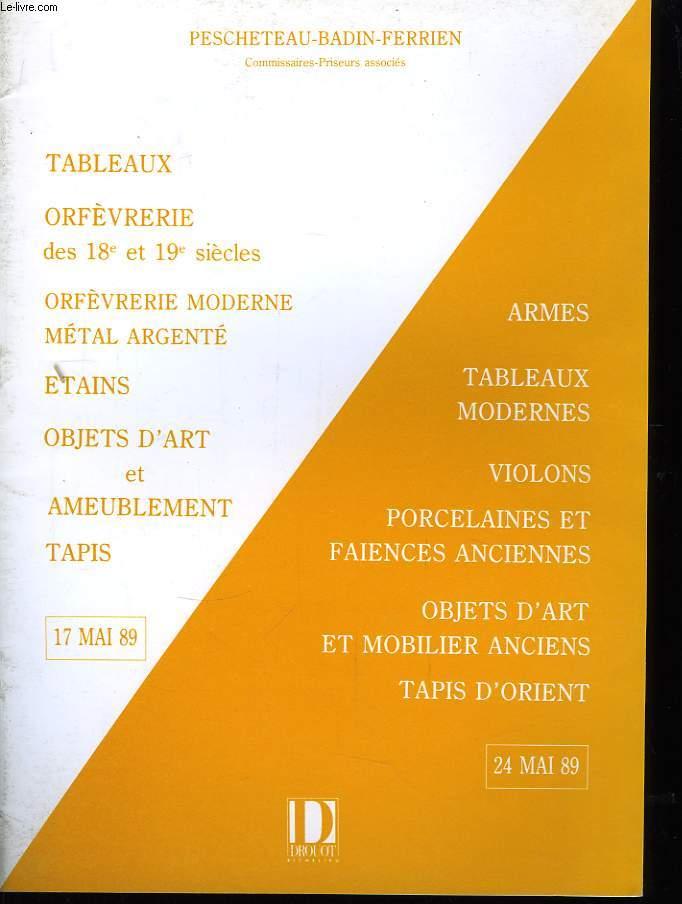 Tableaux, Orfèvrerie des 18è et 19è siècles ...